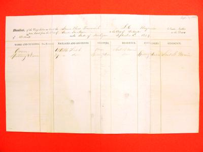 Tecumseh, Manifest, 6 September 1849