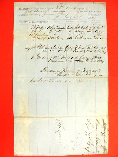 Michigan, Manifest, 7 September 1849