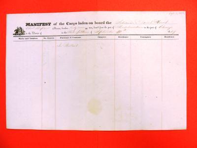 Merritt Hunt, Manifest, 11 September 1849