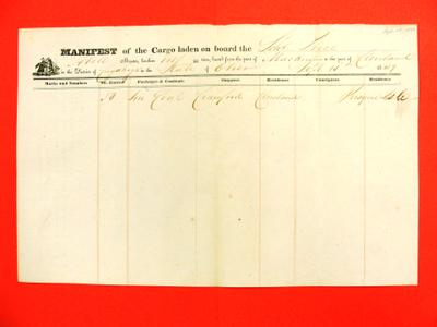 William J. Price, Manifest, 15 September 1849