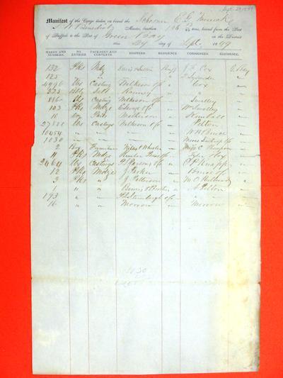 E. G. Merrick, Manifest, 29 September 1849