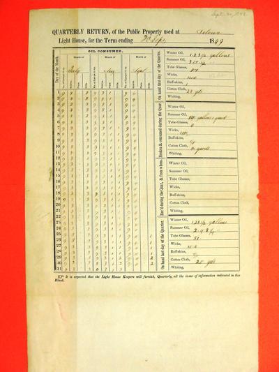 Detour lighthouse, quarterly report, Report, 30 September 1849
