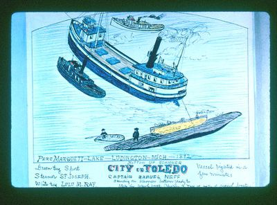 Steamer St. Joseph with wreck, City of Toledo