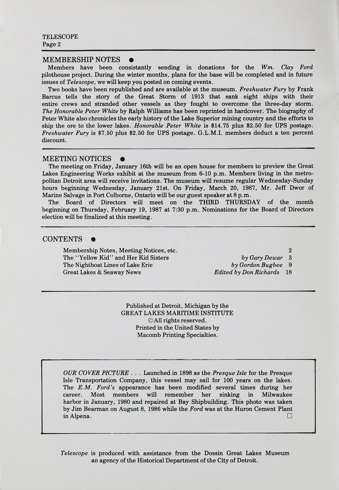 Telescope, v. 36, n. 1 (January - February 1987)