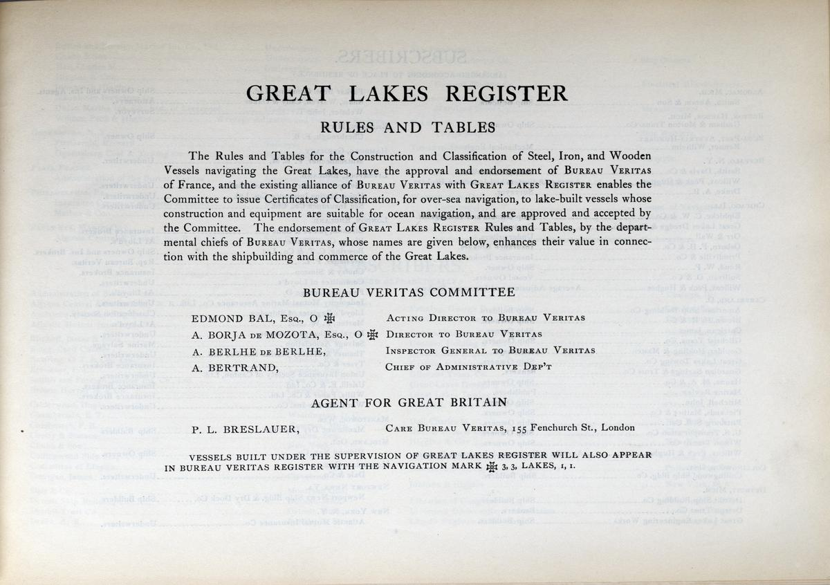 Great Lakes Register 1908