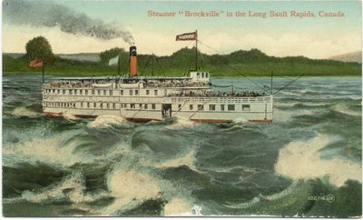 "Steamer ""Brockville"" in the Long Sault Rapids, Canada"