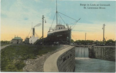 Barge in Lock at Cornwall, St. Lawrence River