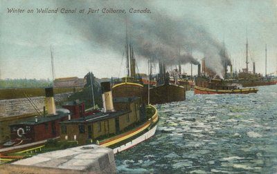 Winter on Welland Canal at Port Colborne, Canada