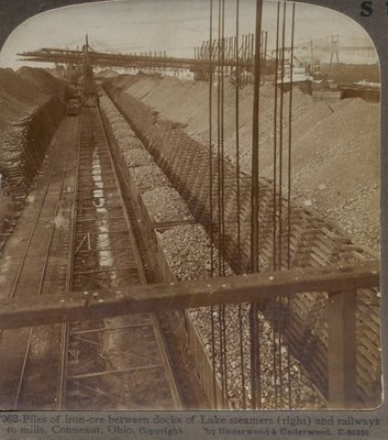 Piles of iron-ore between docks of Lake steamers (right) and railways to mills, Conneaut, Ohio