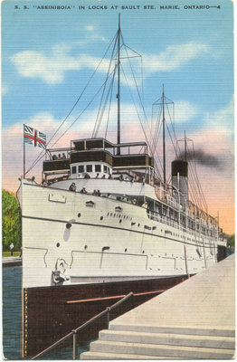 "S. S. ""Assiniboia"" in locks at Sault Ste. Marie, Ontario"