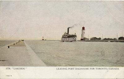 "Str. ""Lakeside""   Leaving Port Dalhousie for Toronto, Canada"