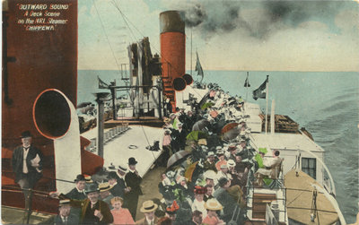 """Outward Bound"" A Deck Scene on the NRL Steamer ""Chippewa"""