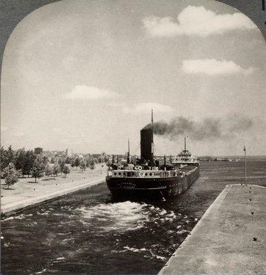 Large Iron Ore Boat Leaving Sault Ste. Marie Locks, to Enter Lake Huron, Michigan