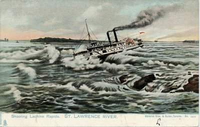 Shooting Lachine Rapids.  St. Lawrence River