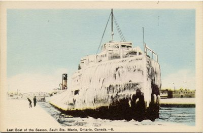 Last Boat of the Season, Sault Ste. Marie, Ontario, Canada.