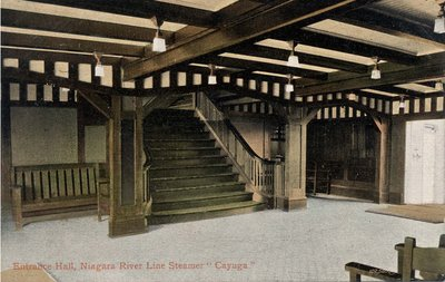"Entrance Hall, Niagara River Line Steamer ""Cayuga"""