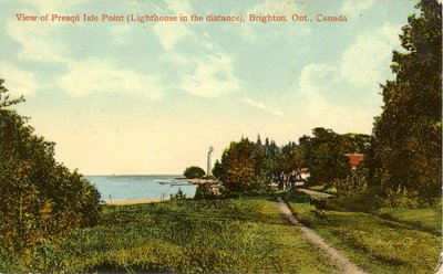 View of Presqu'Isle Point (Lighthouse in the distance), Brighton, Ont., Canada