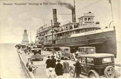"Steamer ""Keystone"" Docking at Port Dover, Canada"