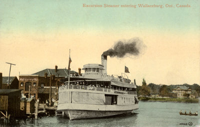 Excursion Steamer entering Wallaceburg, Ont., Canada