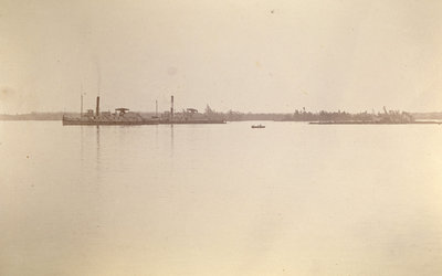 CHIEFTAIN and JOHN A. MACDONALD towing timber rafts on the Saint Lawrence River
