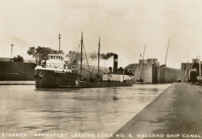"Steamer ""Benmaple"" leaving Lock No. 6, Welland Ship Canal"