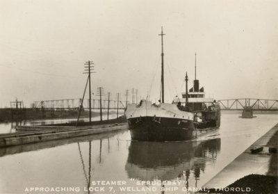 "Steamer ""Sprucebay"" approaching Lock 7, Welland Ship Canal, Thorold"