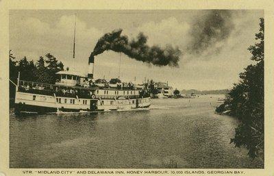 "Str. ""Midland City"" and Delawana Inn, Honey Harbour, 30,000 Islands, Georgian Bay."
