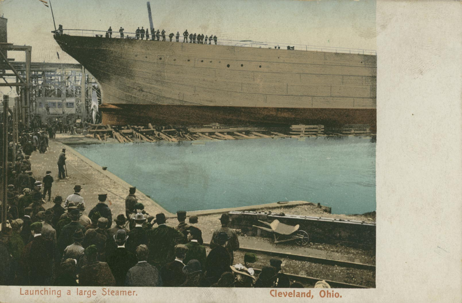 Launching a large Steamer, Cleveland, Ohio