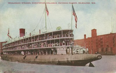 Whaleback Steamer, Christopher Columbus, Entering Harbor, Milwaukee, Wis.