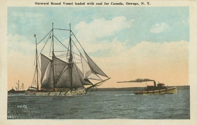 Outward Bound Vessel loaded with coal for Canada, Oswego, N.Y.