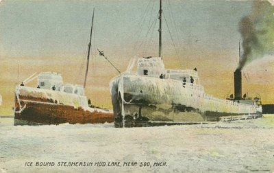 Ice bound steamers in Mud Lake, near Soo, Mich.