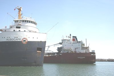 MV ALGOCAPE passing the MV NANTICOKE in the Welland Canal