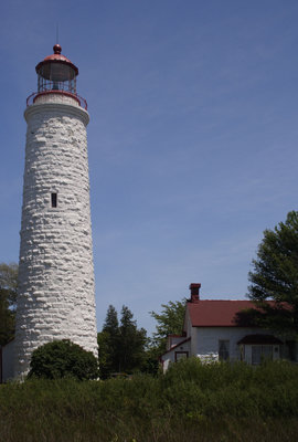 Lighthouse and lightkeeper's house at Point Clark, Lake Huron