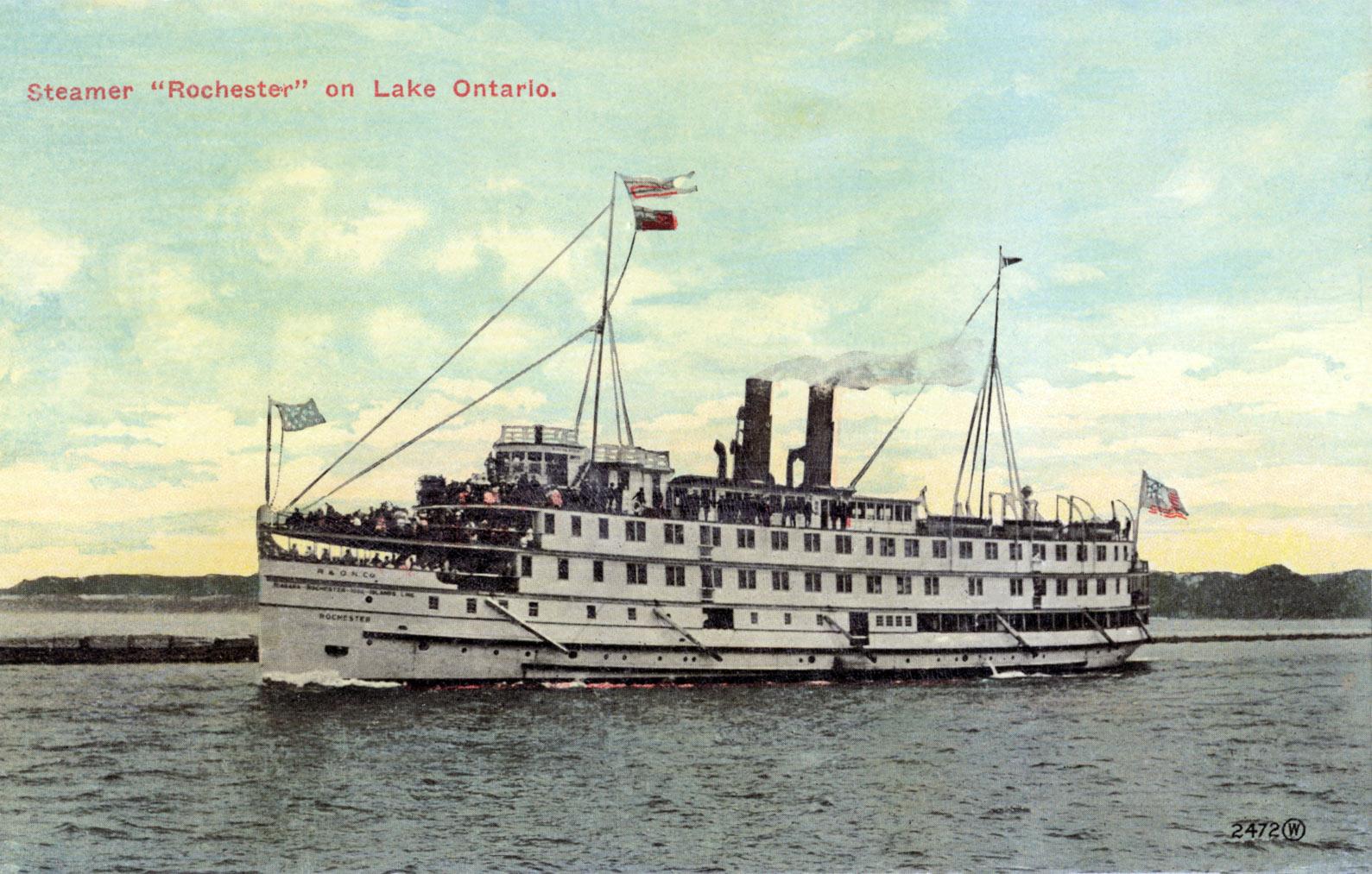 """Steamer """"Rochester"""" on Lake Ontario"""