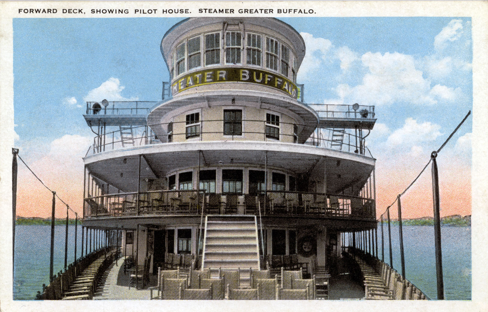 Forward Deck, showing Pilot House. Steamer Greater Buffalo