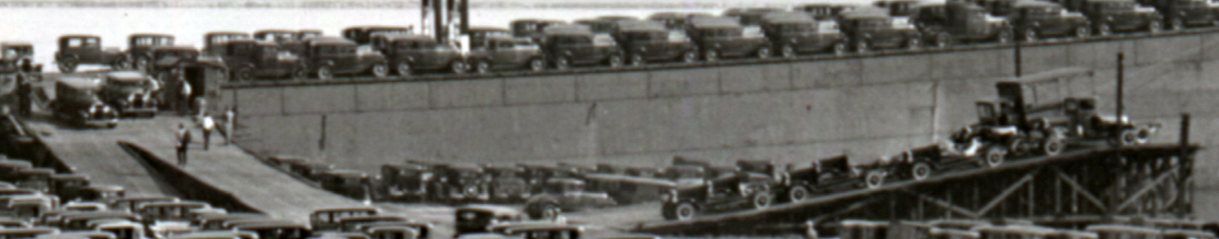 Large Lake Boat Loaded with Automobiles