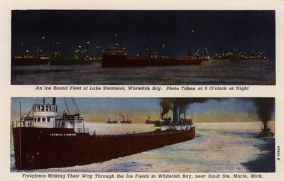An Ice Bound Fleet of Lake Steamers, Whitefish Bay.