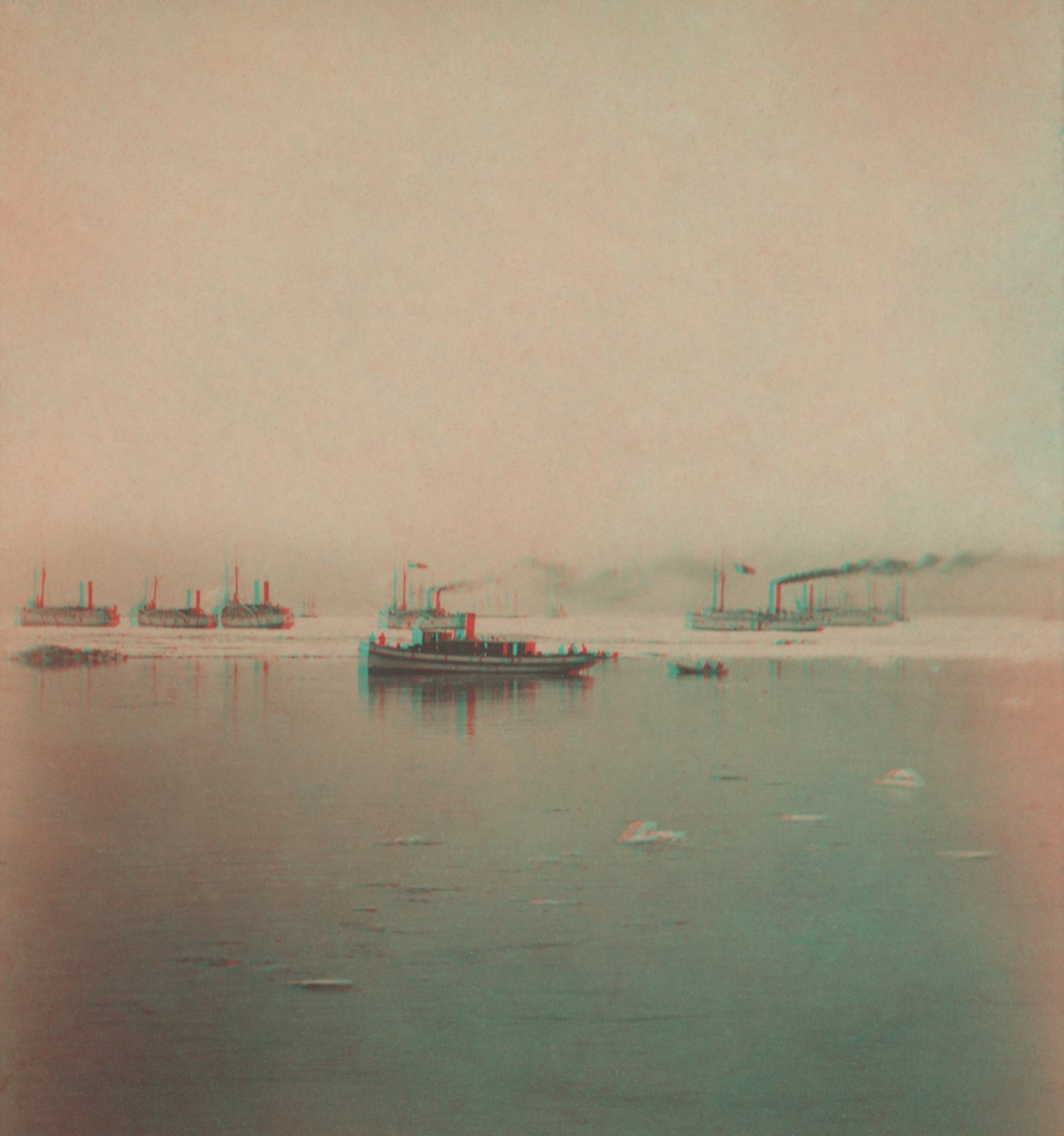 Six ice bound Propellers off Buffalo Light, May 4, 1867.