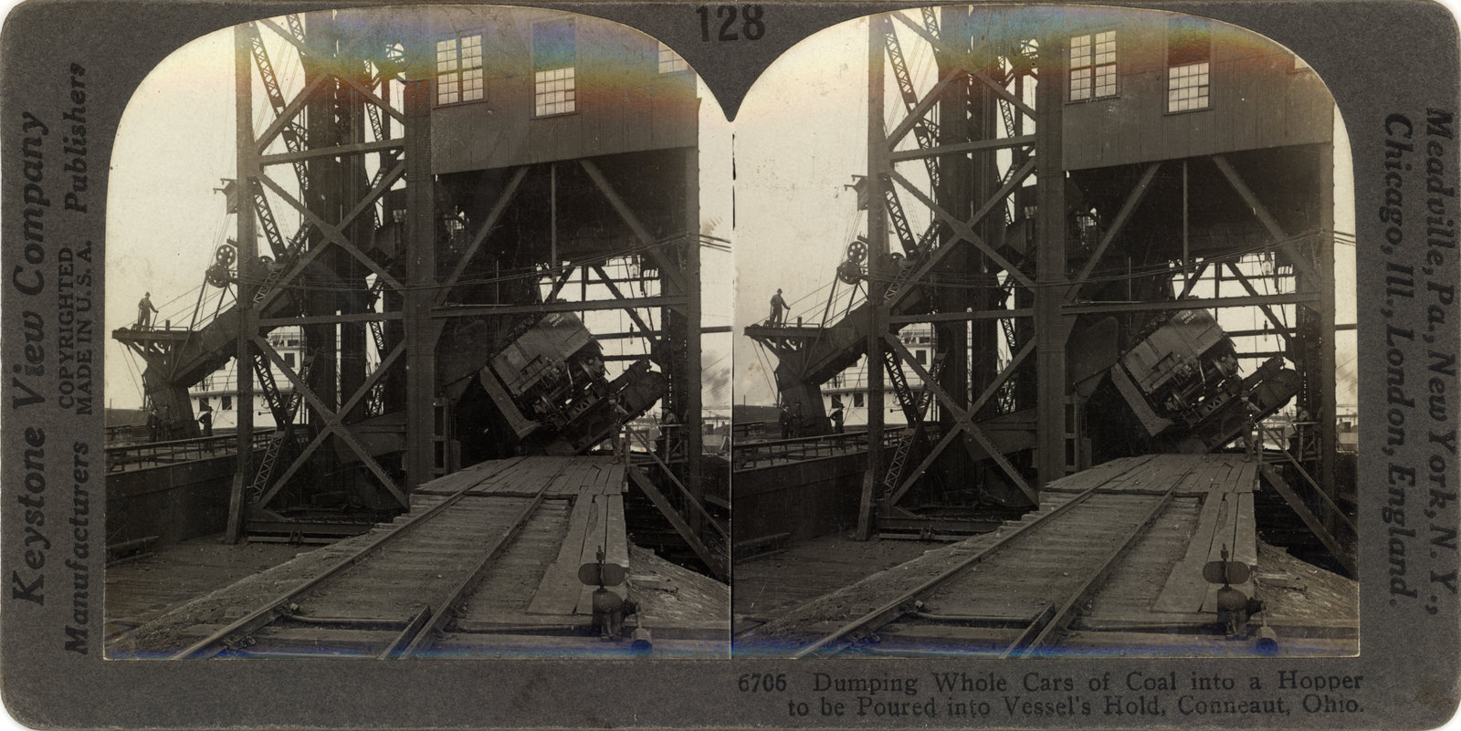 Dumping Whole Cars of Coal into a Hopper to be Poured into Vessel's Hold, Conneaut, Ohio
