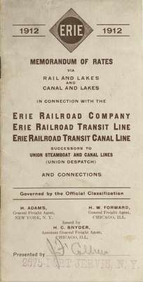 Memorandum of Rates via Rail and Lakes and Canal and lakes in connection with the Erie Railroad Company ...