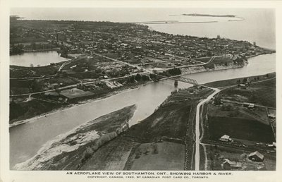 An Aeroplane View of Southamton, Ont., Showing Harbor & River