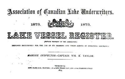 Lake Vessel Register, 1873