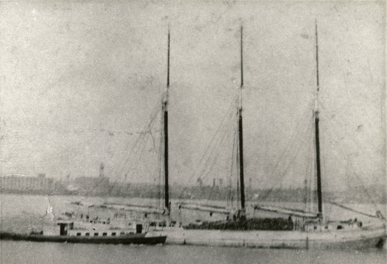 Unknown three masted schooner