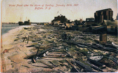 Water Front after the storm of Sunday, January 20th, 1907, Buffalo, N.Y.