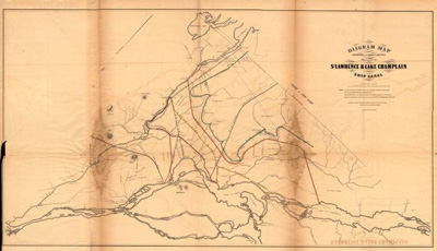 Diagram Map exhibiting the Various Routes Proposed for the St. Lawrence & Lake Champlain Ship Canal.