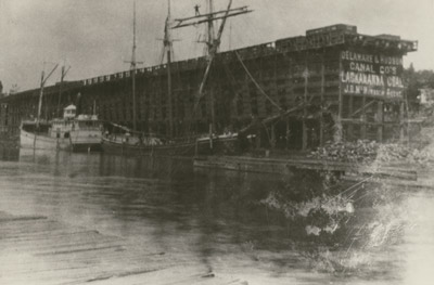 Schooner and steamer at Delaware & Hudson Canal Company's coal dock in Oswego, NY