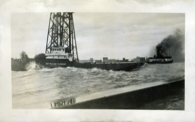 SIR WILLIAM FAIRBAIRN departing from Duluth in rough weather