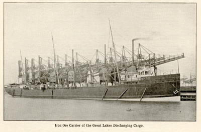 Iron Ore Carrier of the Great Lakes Discharging Cargo