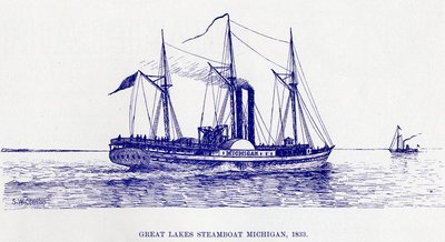 1833 : Steamboat Michigan Launched from Detroit