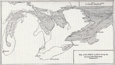 History of the great lakes volume i map of the early lakes broken shading represents extension of the early lake epoch solid shading a lower stage of iroquois gulf before the birth of lake freerunsca Choice Image